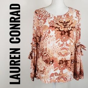 LC Lauren Conrad Print Top Bow Sleeves Med
